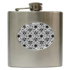 Star Crystal Black White 1 And 2 Hip Flask (6 Oz) by Cveti