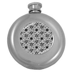 Star Crystal Black White 1 And 2 Round Hip Flask (5 Oz) by Cveti