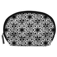 Star Crystal Black White 1 And 2 Accessory Pouches (large)  by Cveti