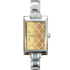Vintage,gold,damask,floral,pattern,elegant,chic,beautiful,victorian,modern,trendy Rectangle Italian Charm Watch by 8fugoso