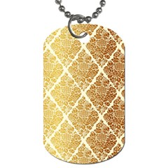Vintage,gold,damask,floral,pattern,elegant,chic,beautiful,victorian,modern,trendy Dog Tag (one Side) by 8fugoso