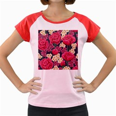 Pink Roses And Daisies Women s Cap Sleeve T Shirt by teambridelasvegas