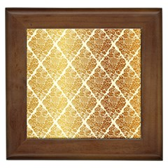 Vintage,gold,damask,floral,pattern,elegant,chic,beautiful,victorian,modern,trendy Framed Tiles by 8fugoso