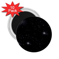 Starry Galaxy Night Black And White Stars 2 25  Magnets (10 Pack)  by yoursparklingshop