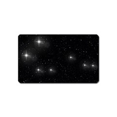 Starry Galaxy Night Black And White Stars Magnet (name Card) by yoursparklingshop