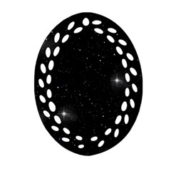 Starry Galaxy Night Black And White Stars Oval Filigree Ornament (two Sides) by yoursparklingshop