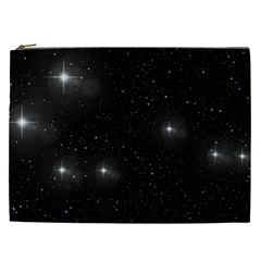 Starry Galaxy Night Black And White Stars Cosmetic Bag (xxl)  by yoursparklingshop