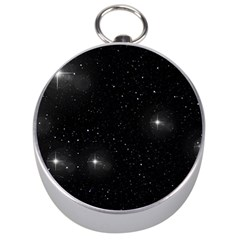 Starry Galaxy Night Black And White Stars Silver Compasses by yoursparklingshop