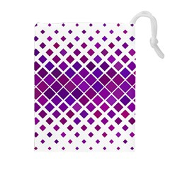 Pattern Square Purple Horizontal Drawstring Pouches (extra Large) by Celenk