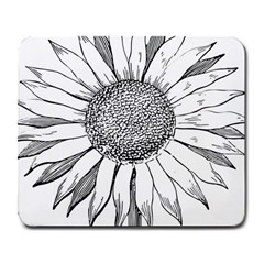 Sunflower Flower Line Art Summer Large Mousepads by Celenk