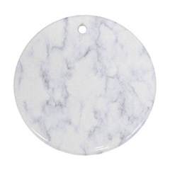 Marble Texture White Pattern Ornament (round) by Celenk
