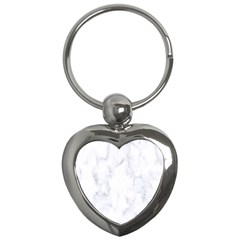 Marble Texture White Pattern Key Chains (heart)  by Celenk