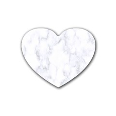 Marble Texture White Pattern Rubber Coaster (heart)  by Celenk