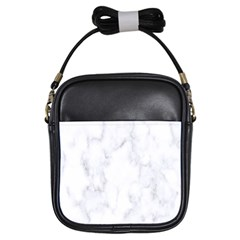Marble Texture White Pattern Girls Sling Bags by Celenk