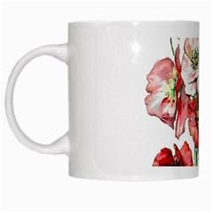Flowers Poppies Poppy Vintage White Mugs by Celenk