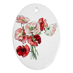 Flowers Poppies Poppy Vintage Oval Ornament (two Sides) by Celenk