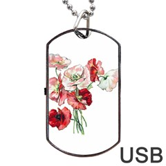 Flowers Poppies Poppy Vintage Dog Tag Usb Flash (two Sides) by Celenk