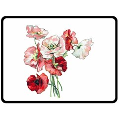 Flowers Poppies Poppy Vintage Double Sided Fleece Blanket (large)  by Celenk