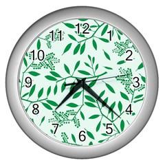 Leaves Foliage Green Wallpaper Wall Clocks (silver)  by Celenk
