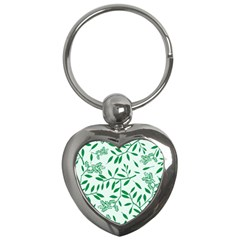 Leaves Foliage Green Wallpaper Key Chains (heart)  by Celenk