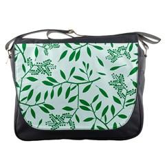 Leaves Foliage Green Wallpaper Messenger Bags by Celenk
