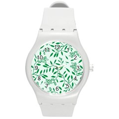 Leaves Foliage Green Wallpaper Round Plastic Sport Watch (m) by Celenk