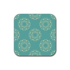 Floral Vintage Royal Frame Pattern Rubber Square Coaster (4 Pack)  by Celenk