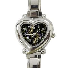 Fractal Braids Texture Pattern Heart Italian Charm Watch by Celenk