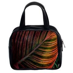 Leaf Colorful Nature Orange Season Classic Handbags (2 Sides) by Celenk