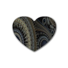 Fractal Spikes Gears Abstract Rubber Coaster (heart)  by Celenk