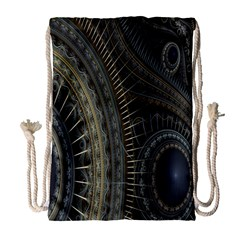 Fractal Spikes Gears Abstract Drawstring Bag (large) by Celenk
