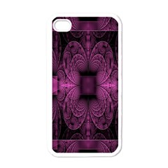 Fractal Magenta Pattern Geometry Apple Iphone 4 Case (white) by Celenk
