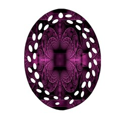 Fractal Magenta Pattern Geometry Oval Filigree Ornament (two Sides) by Celenk