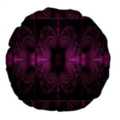 Fractal Magenta Pattern Geometry Large 18  Premium Flano Round Cushions by Celenk