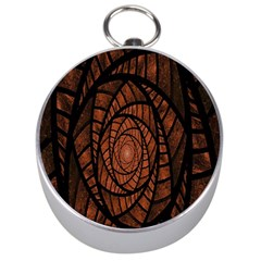 Fractal Red Brown Glass Fantasy Silver Compasses by Celenk