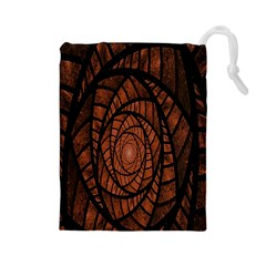 Fractal Red Brown Glass Fantasy Drawstring Pouches (large)  by Celenk