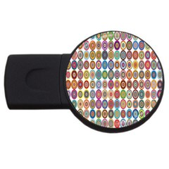 Decorative Ornamental Concentric Usb Flash Drive Round (2 Gb) by Celenk