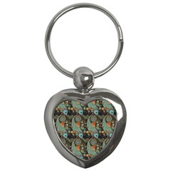 Pattern Background Fish Wallpaper Key Chains (heart)  by Celenk
