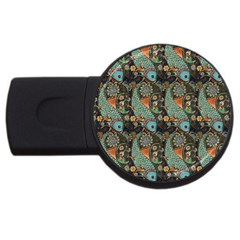 Pattern Background Fish Wallpaper Usb Flash Drive Round (4 Gb) by Celenk