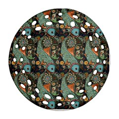 Pattern Background Fish Wallpaper Round Filigree Ornament (two Sides) by Celenk