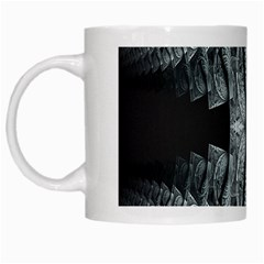 Fractal Blue Lace Texture Pattern White Mugs by Celenk