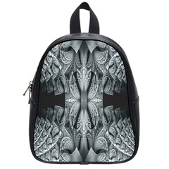 Fractal Blue Lace Texture Pattern School Bag (small) by Celenk