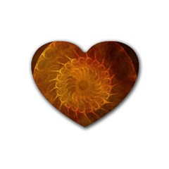 Orange Warm Hues Fractal Chaos Heart Coaster (4 Pack)  by Celenk