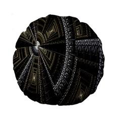 Fractal Circle Circular Geometry Standard 15  Premium Round Cushions by Celenk