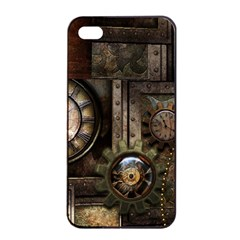 Steampunk, Wonderful Clockwork With Gears Apple Iphone 4/4s Seamless Case (black) by FantasyWorld7