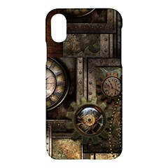 Steampunk, Wonderful Clockwork With Gears Apple Iphone X Hardshell Case by FantasyWorld7