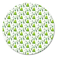 Watercolor Christmas Tree Magnet 5  (round) by patternstudio