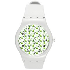 Watercolor Christmas Tree Round Plastic Sport Watch (m) by patternstudio
