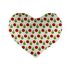 Watercolor Ornaments Standard 16  Premium Flano Heart Shape Cushions by patternstudio