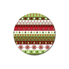 Christmas Spirit Pattern Magnet 3  (round) by patternstudio